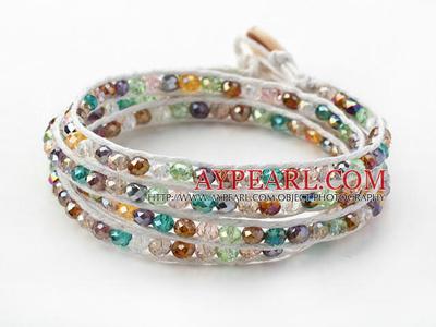 Multi Color Jade Crystal Woven Wrap Bangle Bracelet For